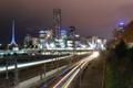 Картинка ночь, огни, австралия, Melbourne, train, Australia, Metro Light Streams