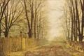 Картинка листья, осень, John Atkinson Grimshaw, дорога, Golden Eve
