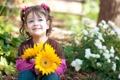 Картинка цветы, настроения, девочка