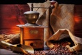 Картинка стол, кофе, зерна, мешок, лопатки, кофемолка
