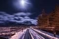 Картинка зима, дорога, ночь