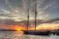 Картинка закат, яхта, причал
