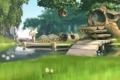 Картинка лес, река, трава, причал, дом, доски, дерево