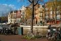 Картинка велосипед, лодка, корабль, дома, канал, амстердам, nederland