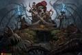 Картинка золото, рисунок, череп, шляпа, фэнтези, арт, скелет
