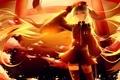 Картинка девушка, закат, цветы, аниме, сакура, арт, форма