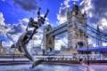 Картинка небо, облака, мост, англия, лондон, hdr, фонтан