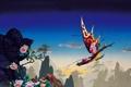 Картинка камни, скалы, небо, Roger Dean, полет, дракон, деревья
