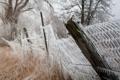 Картинка природа, забор, лёд