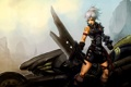 Картинка девушка, оружие, меч, мотоцикл, лента, league of legends, riven