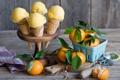 Картинка мороженое, рожок, мандарины