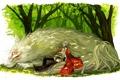 Картинка деревья, природа, аниме, арт, парень, Natsume Yuujinchou, Тетрадь дружбы Нацумэ