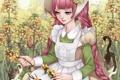 Картинка девушка, кошки, цветы, арт, косички, венок, розовые волосы