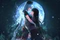 Картинка небо, звезды, ночь, девушки, луна, слезы, арт