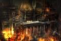Картинка ночь, город, пожар, огонь, здание, арт, ремонт
