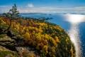 Картинка осень, лес, небо, облака, деревья, озеро, остров