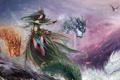 Картинка девушка, птицы, звери, драконы, арт