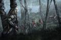 Картинка дождь, лес, солдаты, Кредо Убийцы 3, Коннор Кенуэй, ночь, Assassin's Creed III