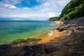 Картинка море, берег, растительность, горизонт, США, скалистый, Michigan