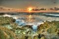 Картинка закат, камни, Hawaii, Maui, океан