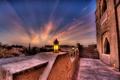 Картинка закат, пальмы, вечер, фонари, отель, Abu Dhabi, ОАЭ