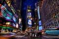 Картинка свет, ночь, люди, улица, дома, нью-йорк, таймс