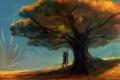 Картинка дерево, арт, пришелец