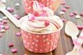 Картинка еда, сердечки, пирожное, cake, крем, sweet, кекс