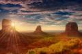 Картинка долина монументов, Юта, пустыня, солнце, скалы, Америка