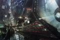 Картинка ночь, город, будущее, фантастика, транспорт, небоскребы, art