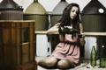 Картинка девушка, вино, ситуация